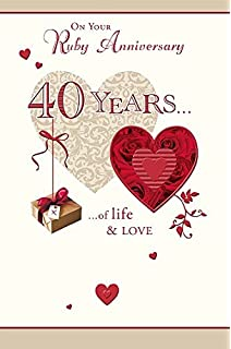 Amazon hallmark 40th ruby anniversary card for husband ruby 40th anniversary 40 years of life and love greeting card m4hsunfo