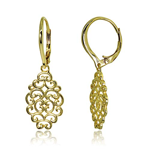 Filigree Dangle Leverback Earrings - Yellow Gold Flashed Sterling Silver Polished Filigree Swirl Spiral Dangle Leverback Earrings