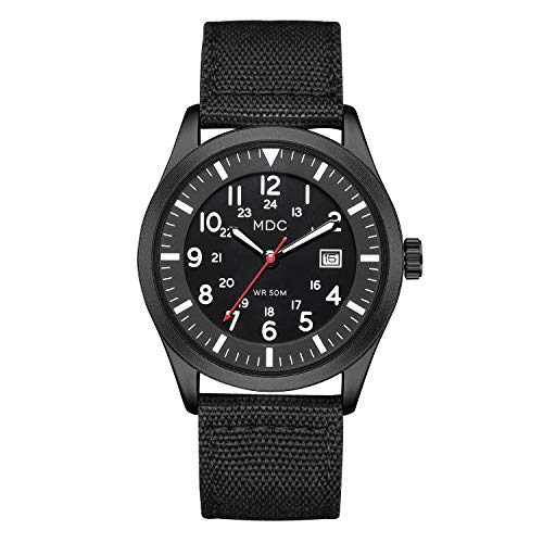 Black Military Analog Wrist Watch for Men, Mens Army Field Tactical Sport Watches Work Watch, Waterproof Outdoor Casual…