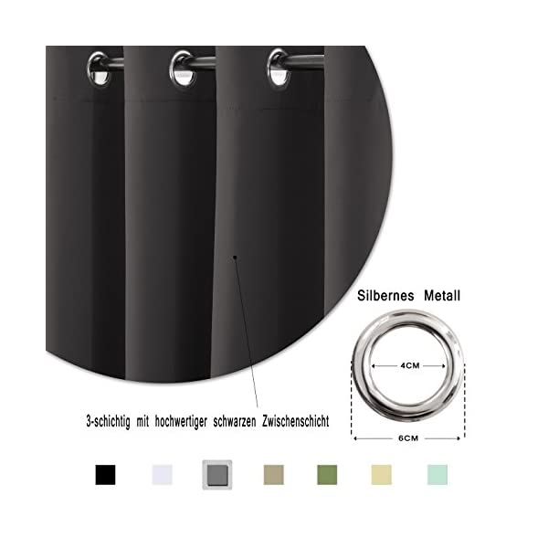 41XXyHT6%2B1L FLOWEROOM Blickdichte Gardinen Verdunkelungsvorhang - Lichtundurchlässige Vorhang mit Ösen für Schlafzimmer…