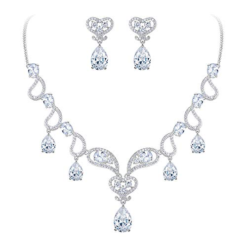 BriLove Women's Bohemian Boho CZ Teardrop Hollow Heart Shape Statement Necklace Dangle Earrings Set Clear Silver-Tone April Birthstone