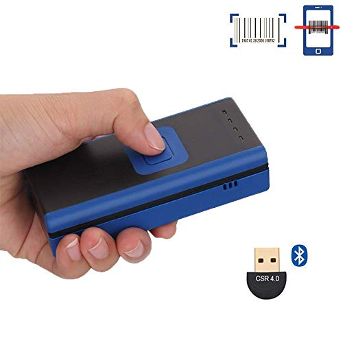 (Unideeply Wireless Mini Barcode Scanner, Bluetooth 4.0 Portable Barcode Reader, Support Tablet/Smartphone/PC Connection, Read 1D Barcodes on Mobile Devices (Blue))