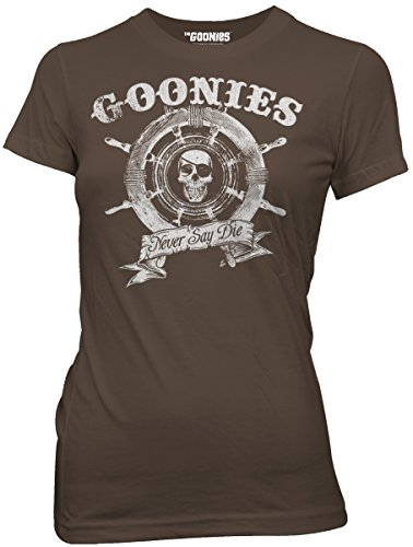 The Goonies Never Say Die Ship Wheel Juniors Brown T-shirt S -