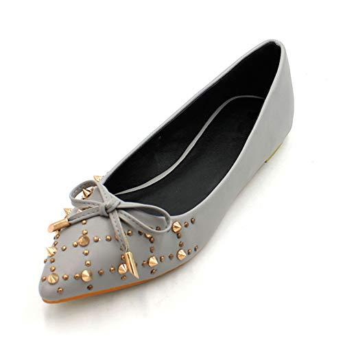 FLYRCX Moda Casual Arco Zapatos Planos Acentuados Remache Superficial Solo Zapatos de Las señoras Zapatos de Trabajo de Oficina, 37 UE 35 EU