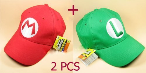 2PCS Super Mario Bros Baseball Cap Mario Luigi Cosplay Red -