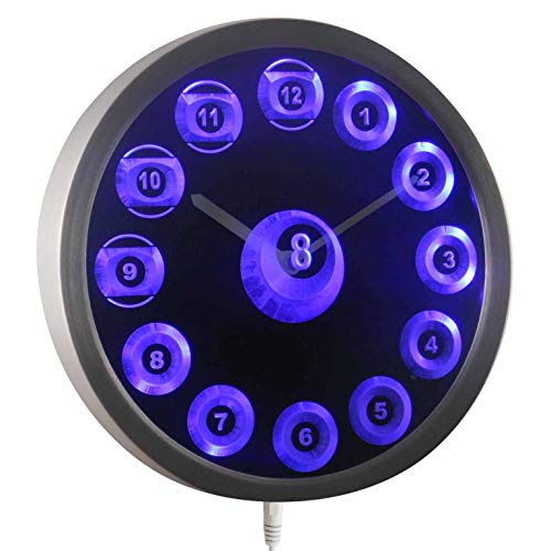 Ball Billiards Neon Sign - ADVPRO nc0909-b 8 Ball Billiards Cue Pool Game Room Bar Neon Sign LED Wall Clock