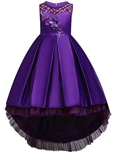Formal Crystal Dresses Size 9 8 Vintage Satin High Low Girl Clothing Summer Sleeveless O Neck Flower Girl Dress Appliques Elegant Pleated A Line Clothes Lace Prom Party Mesh (Purple, 140)