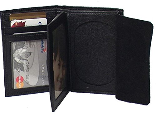 Genuine Cowhide Leather Badge RFID Wallet for Firefighters, Police etc. #4622R US