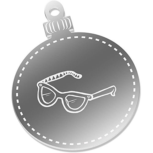 2 x 75mm 'Sunglasses' Engraved Mirror Baubles - Sunglasses 75mm