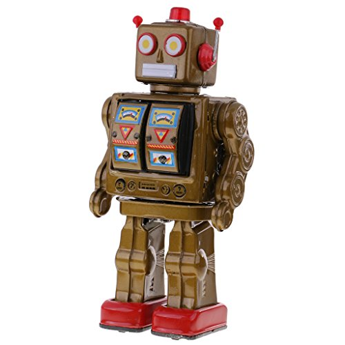 MagiDeal Retro Gold Tin Toy 12'' Electron Robot with Openable Doors on Chest Operated by 2 ''D'' Battery - Walking, Rotating Torso, Sounds ()