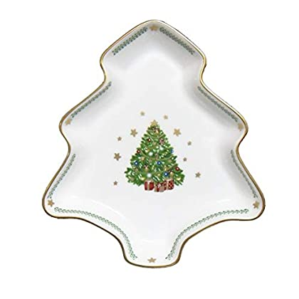 Image of Dinner Plates Prouna My Noel Tree Plate, Small - 24K Gold Plated Fine Bone China Ceramic Serving Dish and Holiday Dinnerware - Elegant Handpainted Chinaware and Porcelain Christmas Serveware - Festive Kitchen Décor