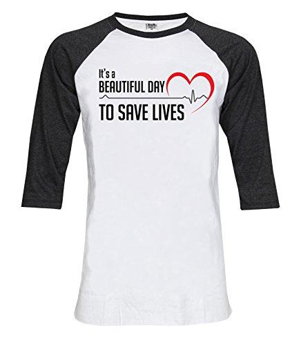 Topcloset Beautiful Day To Save Lives Unisex Baseball T Shirt Large White Grey