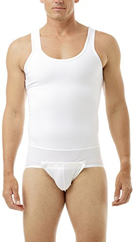 Underworks Mens Compression Tanksuit Girdle Shirt Large White