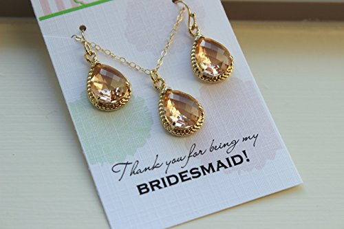Champagne Blush Jewelry Set Earrings Necklace 14k Gold Filled Earwires and Chain Thank you for being my Bridesmaid Card Wedding Jewelry Bridesmaid (Gold Filled Chain Earrings)