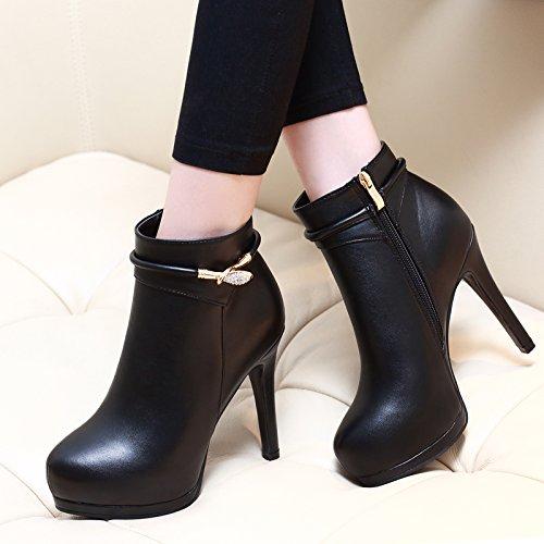 GTVERNH-Tacchi A Spillo Di 10Cm Stivali Stivali Impermeabili Martin Zip Scarpe Stivali Sexy 36 Black