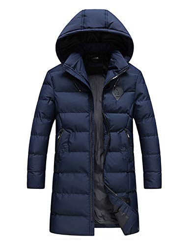Lined blue Breathable Navy Hiking Waterproof for BESBOMIG Men Sleeve Insulated Comfy Rain Jacket Quilted Coat Long Long amp; Backpacking Hooded vHw4Aq