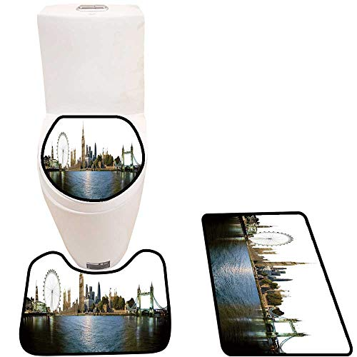 3 Piece Bathroom Mat Set London Skyline Import t Builds Attraction The City Soft Shaggy Non Slip