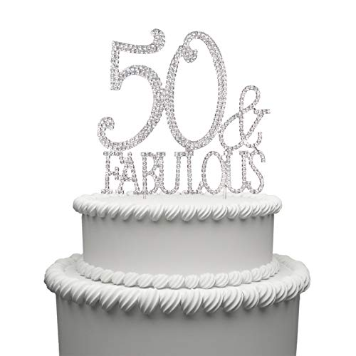 Hatcher lee Bling Crystal Fabulous and 50 Birthday Cake Topper - Best Keepsake | 50th Party Decorations - Cake Monogram Topper Black