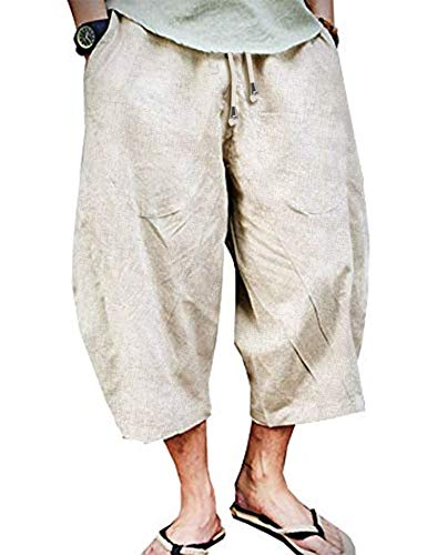 COOFANDY Men's Casual Cotton Linen Pants Patchwork Elastic Baggy Capri Trousers