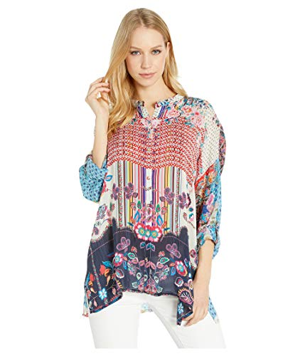Johnny Was Women's Oversized Patterned Silk Button Up with Collar, Multi, L