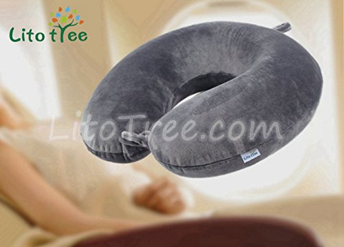 Travel Pillow - Luxury Memory Foam Neck Support Pillow & Cushion with Washable Cover (Grey) by LitoTree