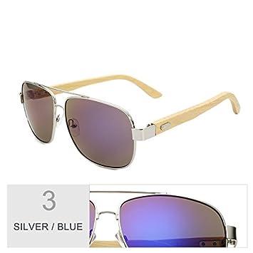TIANLIANG04 Sonnenbrillen In Holz Für Männer/Frauen Bunt Vintage Gleitsichtgläser Brille Aus Bambus Frauen Street Style, Silber Silber