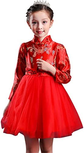 8c8614f02 Face Dream Girls Chinese Cheongsam Tutu Dresses Retro Embroidery Princess  Dresses 3-12T