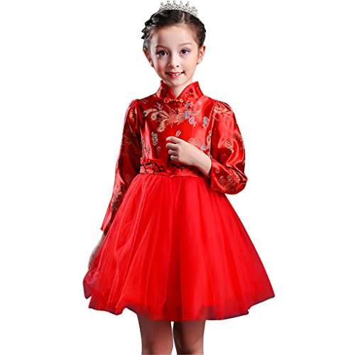 Face Dream Girls Chinese Cheongsam Tutu Dresses Retro Embroidery Princess Dresses 3-12T