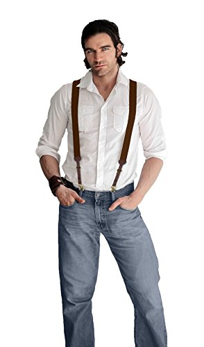 Men's Smooth Leather Suspenders Adjustable Elastic Strap Scissor Hook Snaps Y Backed (Brown, Large)