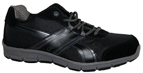 Groundwork Zapatillas de atletismo ultraligeras para hombre con puntera de acero para mayor seguridad, de cordones negro