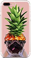 Case Replacement for iPhone 8 Plus,Aloha Beach Girl Pineapple Fruit Hat Pug Pet Dog Funny Upper Pineapple Cute Summer Hipster Hawaii Fruit Clear Case Cover Replacement for iPhone 7 Plus/8 Plus