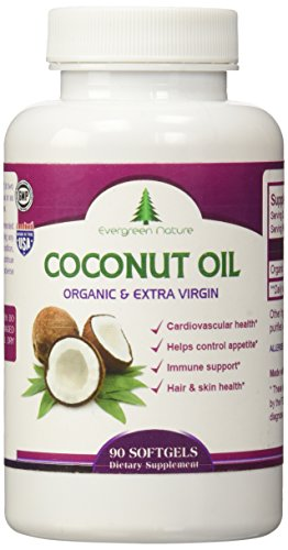 Evergreen Nature Coconut Oil Softgels 1000mg Certified Organic Extra Virgin Capsules - Best Pills for energy, endurance, weight loss, Healthy Heart, Body, Skin, Hair loss- 100% Satisfaction Guarantee