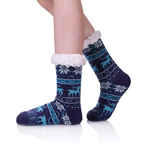 - Women's Winter Super Soft Fleece Lining Fuzzy Knit Stockings - Warm Snowflake Christmas Knee Highs Slipper Socks Blue