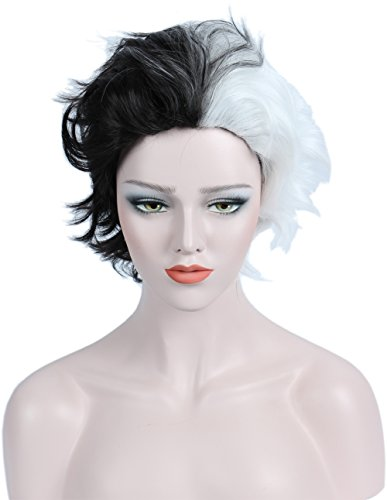 Linfairy Half White and Half Black Two Tone Wig Halloween Costume Cosplay Wig for Women by Linfairy