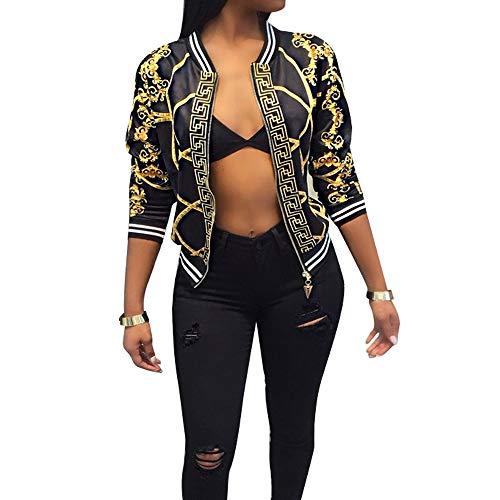 AEL Women's Baseball Biker Bomber Jacket Long Sleeve Zip up Printed Casual Short Coat(Black,XL)