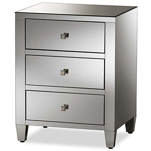 Baxton Studio Hollywood Regency Glamour Style 3-Drawer Nightstand - Regency Style Furniture
