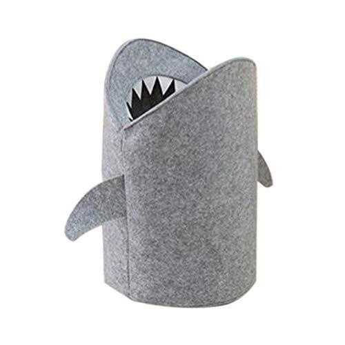 Wustrious Cute Shark Cartoon Folding Storage Bucket Cylindrical Felt Cloth Toy Storage Box boy Girl Children Laundry Basket Hamper Toy Storage Basket, Creative 3 Size Optional