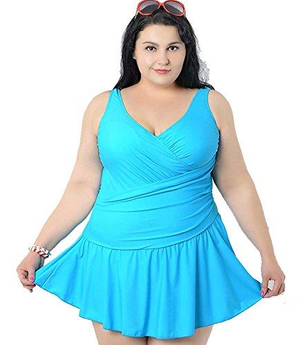 Women's Plus Size Swimdress Pure Color Swimsuit Beachwear with Skirt Blue 3XL