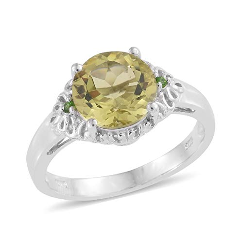 925 Sterling Silver Platinum Plated Green Gold Quartz Chrome Diopside Statement Ring for Women Jewelry Size 8 Cttw 2.8