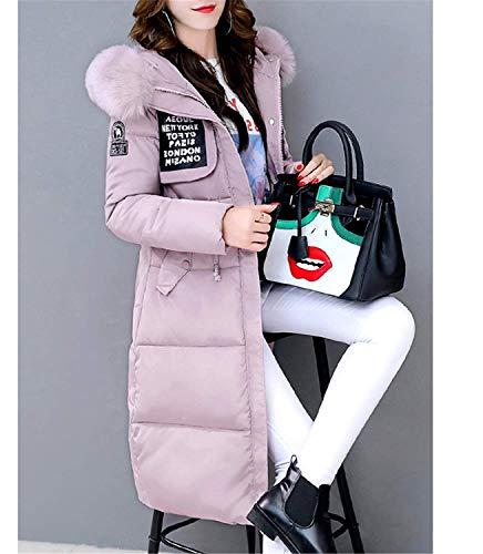 Chaqueta Cómodo Moda Delanteros Invierno Manga Larga Cremallera Capucha Parkas Mujer Con Joven Bastante Correas Cruzadas Pink Unicolor Elegante Pluma Gabardinas Bolsillos wTXXx1qU6