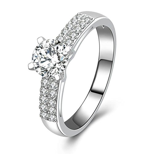 Gnzoe Jewelry, Women Wedding Engagement Ring Prongs Cubic Zirconia, Customized Ring