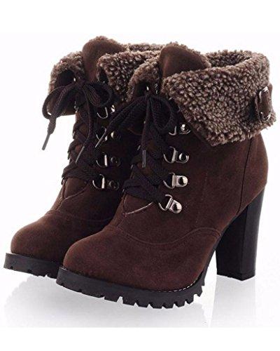 Minetom Mujer Invierno Calentar Botines Tacón Alto Boots Cortas Zapatos De Cordones Martin Botas Marrón