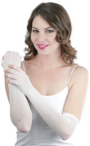 ToBeInStyle Women's Fishnet 100% Nylon Arm Length Glove Warmers - White (White Fishnet Nylon)