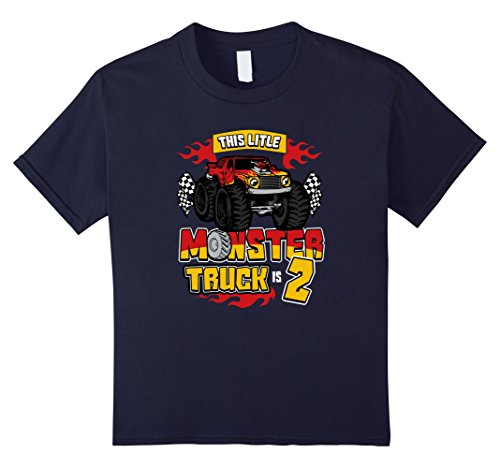 Kids Monster Trucks 2nd Birthday Party Tee Shirt 4 Navy