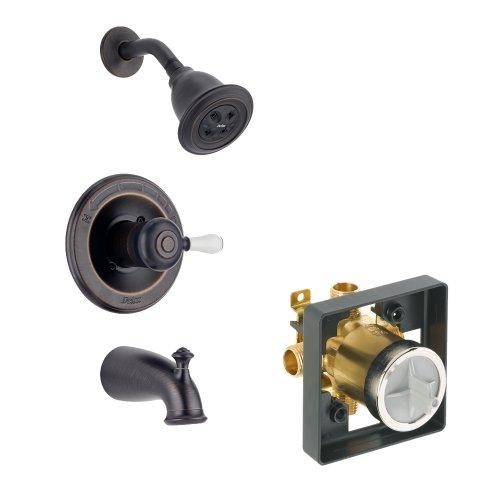 (Delta Delta KTSDLE-T14478H2O-H777-RB Leland Tub/Shower Kit Pressure-Balance Single-Function Cartridge with Porcelain Lever Handle, Venetian Bronze Venetian Bronze)