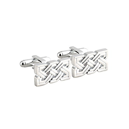 (Celtic Knot Cufflinks Rhodium Plated Irish Made )