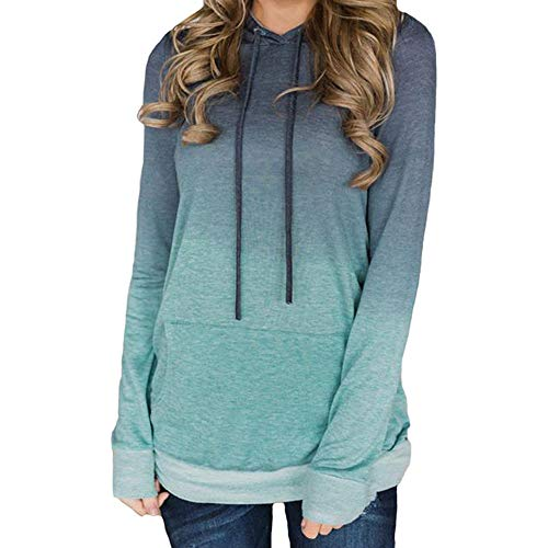 - Sunhusing Ladies Gradient Color Printed Lace-up Pocket Sweater Drawstring Hoodie Pullover Top