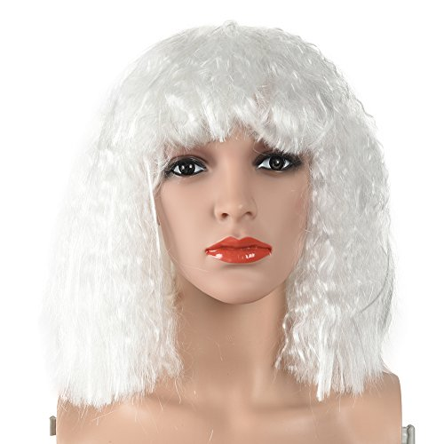 Lady Gaga Ponytail (RoseSummer Colorful Cosplay Wigs Shoulder Length Curly Hair Extensions Halloween Christmas Party Costume Hair Full Wig (White))
