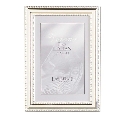 Lawrence Frames Metal Picture Frame Silver-Plate with Delicate Beading, 5 by 7-Inch (Frame Coated Silver)