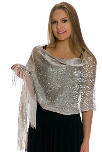 (Shawls and Wraps for Evening Dresses, Wedding Shawl Wrap Fringes Scarf for Women Silver Petal Rose)